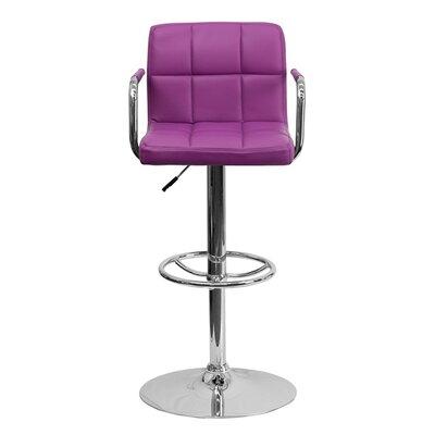 Eamor 33.5 Swivel Bar Stool Upholstery: Purple