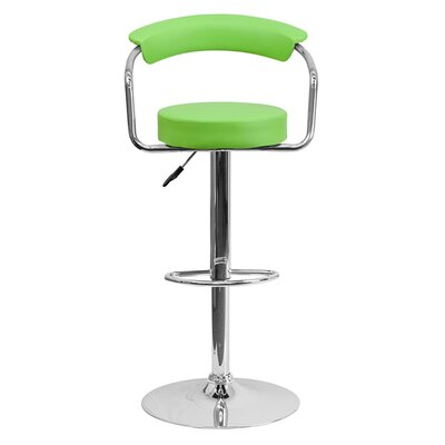 Uma Adjustable Height Swivel Bar Stool Upholstery: Green