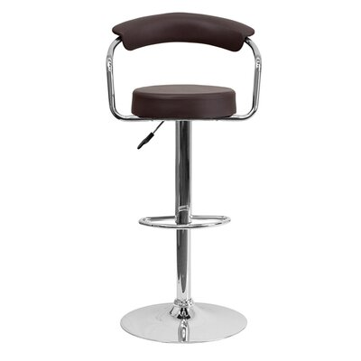 Uma Adjustable Height Swivel Bar Stool Upholstery: Brown