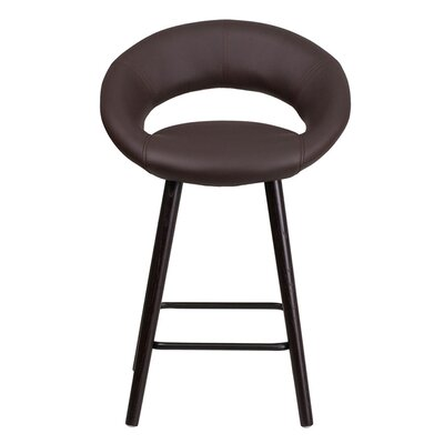 Goodale 24.5 Bar Stool Upholstery: Brown