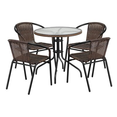 Fontes 5 Piece Bistro Set Finish: Dark Brown