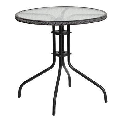 Fontes Round Tempered Glass Metal Bistro Table Finish: Gray