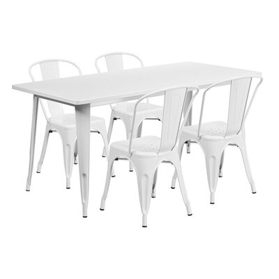 Huggins Rectangular 5 Piece Dining Set Color: White