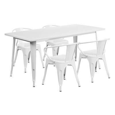 Huggins Rectangular Metal 5 Piece Dining Set Color: White