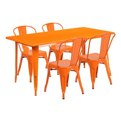 Huggins Rectangular 5 Piece Dining Set Color: Orange