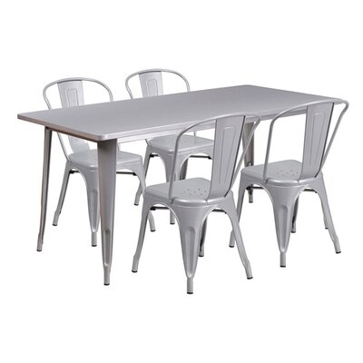 Huggins Rectangular 5 Piece Dining Set Color: Silver