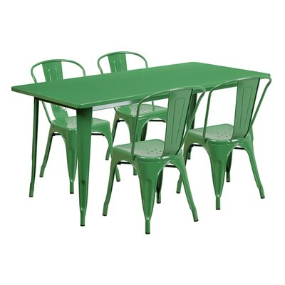 Huggins Rectangular 5 Piece Dining Set Color: Green