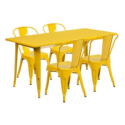 Huggins Rectangular 5 Piece Dining Set Color: Yellow