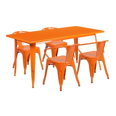 Huggins Rectangular Metal 5 Piece Dining Set Color: Orange