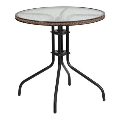 Fontes Round Tempered Glass Metal Bistro Table Finish: Dark Brown