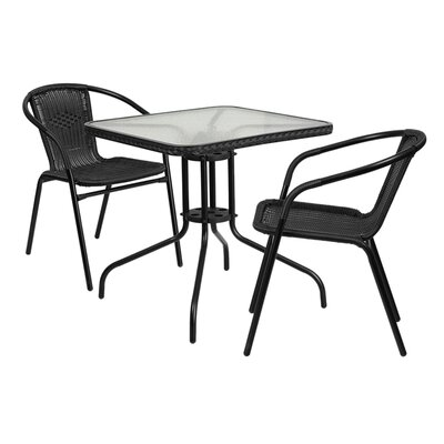 Fontes 3 Piece Dining Set Finish: Black