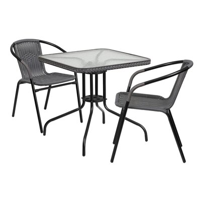 Fontes 3 Piece Dining Set Finish: Gray