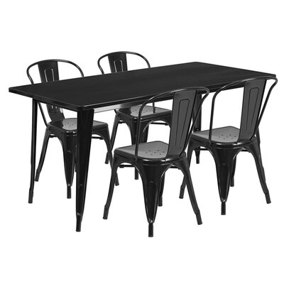 Huggins Rectangular 5 Piece Dining Set Color: Black