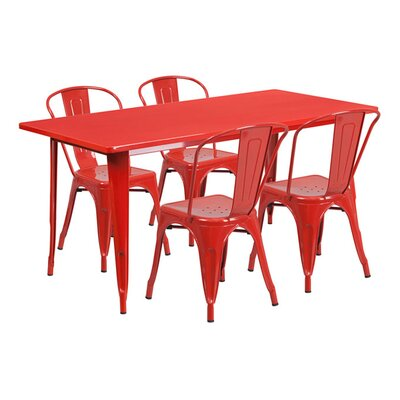 Huggins Rectangular 5 Piece Dining Set Color: Red