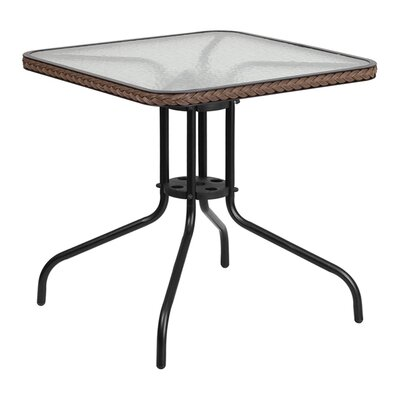 Fontes Square Tempered Glass Metal Bistro Table Finish: Dark Brown