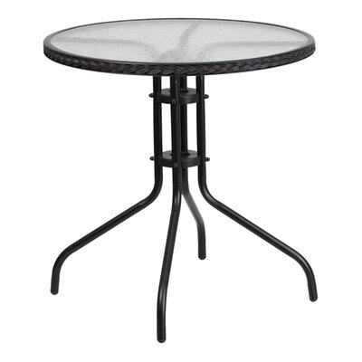 Fontes Round Tempered Glass Metal Bistro Table Finish: Black