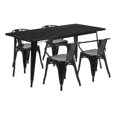 Huggins Rectangular Metal 5 Piece Dining Set Color: Black