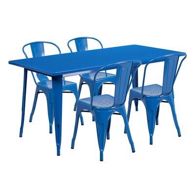 Huggins Rectangular 5 Piece Dining Set Color: Blue