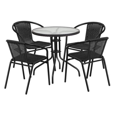 Fontes 5 Piece Bistro Set Finish: Black