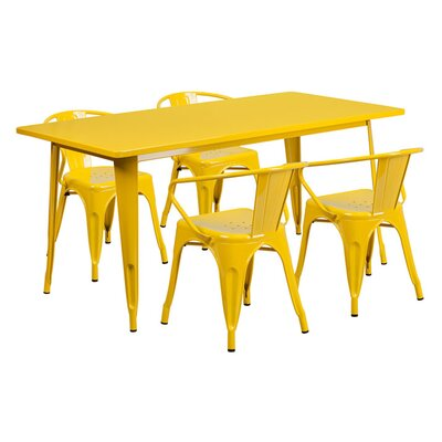 Huggins Rectangular Metal 5 Piece Dining Set Color: Yellow
