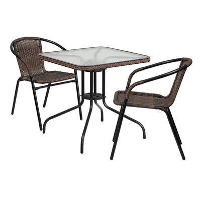 Fontes 3 Piece Dining Set Finish: Dark Brown