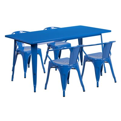 Huggins Rectangular Metal 5 Piece Dining Set Color: Blue