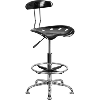 Tractor Adjustable Height Swivel Bar Stool Finish: Black