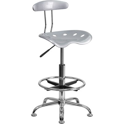 Tractor Adjustable Height Swivel Bar Stool Finish: Silver
