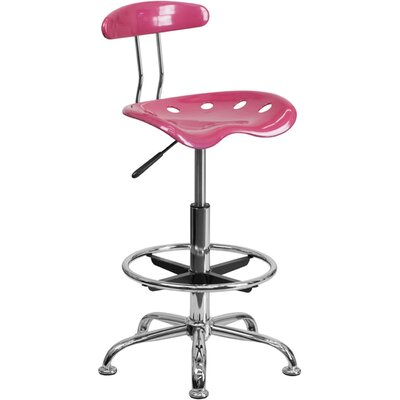 Tractor Adjustable Height Swivel Bar Stool Finish: Pink