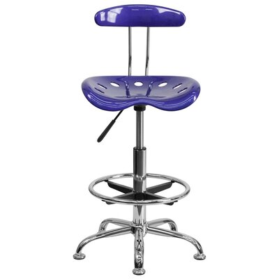 Tractor Adjustable Height Swivel Bar Stool Finish: Deep Blue