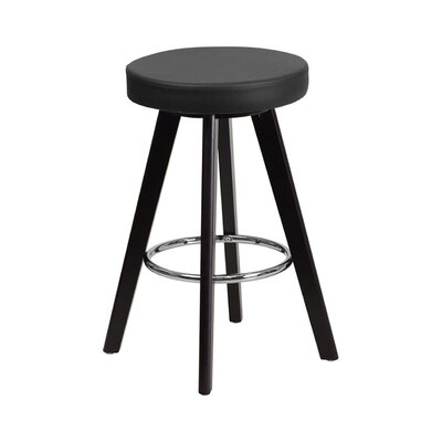 Trenton 30'' Swivel Bar Stool Upholstery: Black