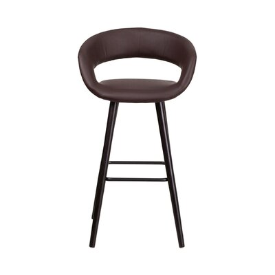 Brynn 30 inch Swivel Bar Stool Upholstery: Brown