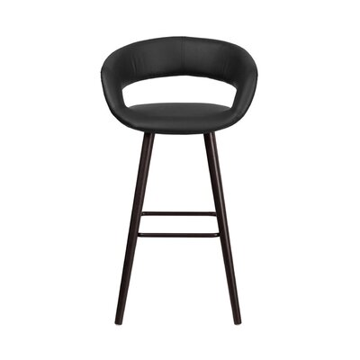 Brynn 30 inch Swivel Bar Stool Upholstery: Black
