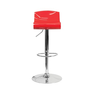 Arlington Adjustable Height Swivel Bar Stool Color: Red/White