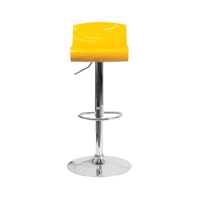 Arlington Adjustable Height Swivel Bar Stool Color: Yellow/White