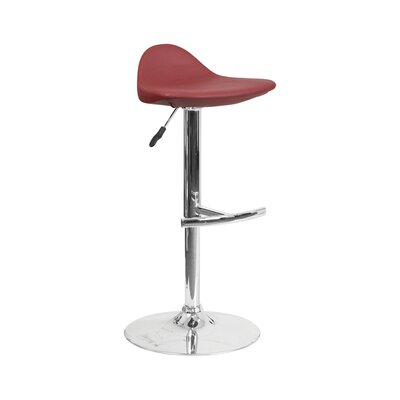 Derick Adjustable Height Swivel Bar Stool Finish: Burgundy