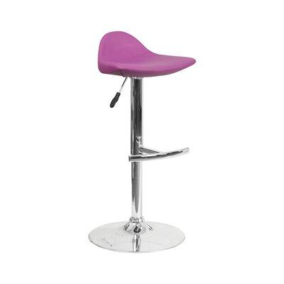 Derick Adjustable Height Swivel Bar Stool Finish: Purple
