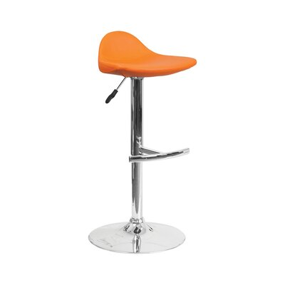 Derick Adjustable Height Swivel Bar Stool Finish: Orange