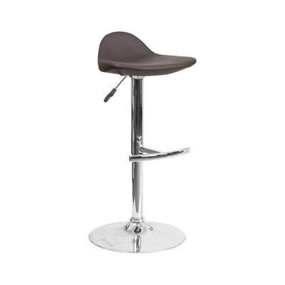 Derick Adjustable Height Swivel Bar Stool Finish: Brown