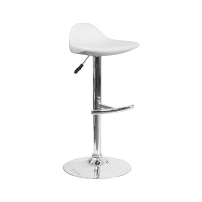 Derick Adjustable Height Swivel Bar Stool Finish: White