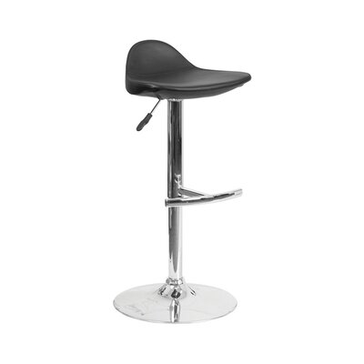 Derick Adjustable Height Swivel Bar Stool Finish: Black
