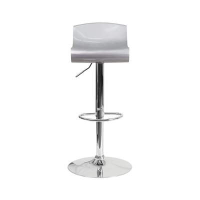 Arlington Adjustable Height Swivel Bar Stool Color: Silver/White