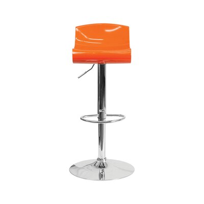 Arlington Adjustable Height Swivel Bar Stool Color: Orange/White