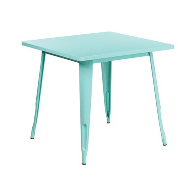 Jesse Square Metal Indoor End Table Color: Mint Green