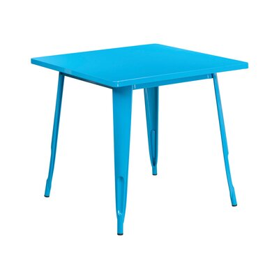 Jesse Square Metal Indoor End Table Color: Crystal Blue