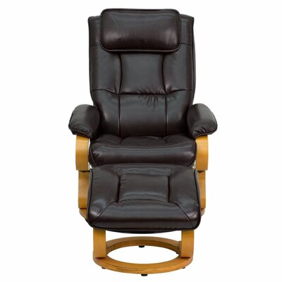Lakehurst Manual Swivel Recliner With Ottoman Upholstery: Brown