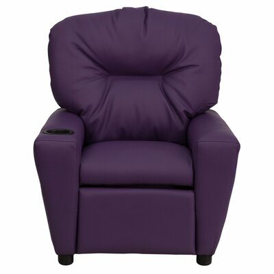 Virgil Kids Recliner with Cup Holder Color: Vinyl - Purple