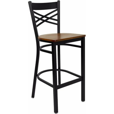Louise 29 Bar Stool Finish: Black/Cherry