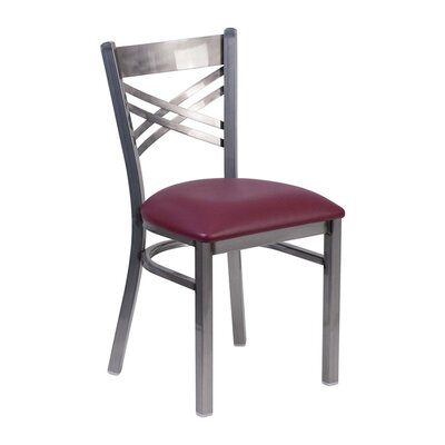 Anissa X Back Dining Chair Seat Color: Burgundy