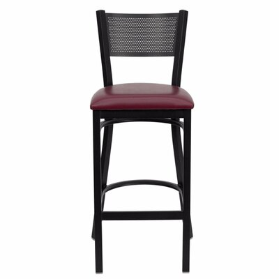 Dryden 30.25 Bar Stool with Cushion Upholstery: Black/Burgundy